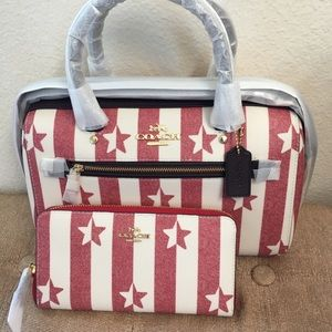 New Coach Satchel Red And White Stars And Stripes